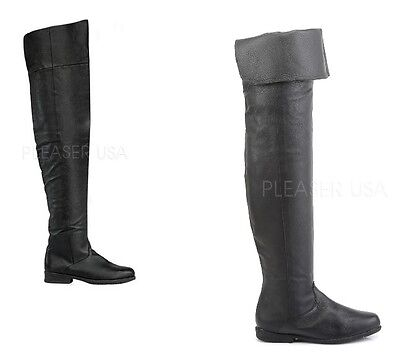 Thigh High Pirate Boots (Maverick Black Leather Thigh High Pull On Pirate Flat Boot Men US Sizes 8 -)