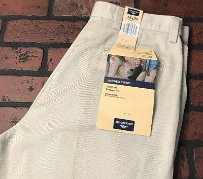 Dockers Washed Chino (Dockers Flat Front Relaxed Fit Washed Chino Khaki Pants Men's Size 34 x 29)