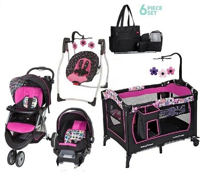 Baby Girl Stroller Car Seat Walk Out Combo Set Playard High