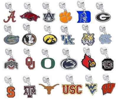 Pick Your Team - College NCAA European Charms for Bracelet Dangle Baseball Beads](Baseball Beads For Bracelets)