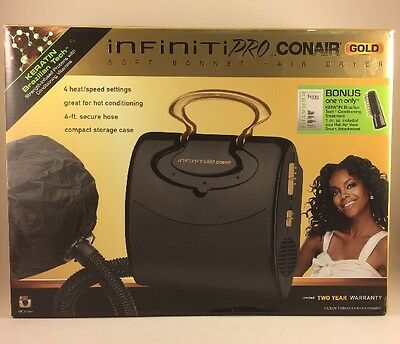 Infiniti Pro Gold by Conair Soft Bonnet Hair Dryer, Black