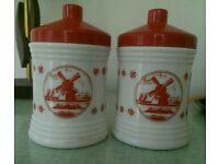 Vintage retro Dutch milk glass storage jar delft style