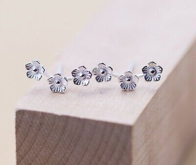 Women 925 Sterling Silver 3 Daisy Flower Ear Climber Stud Earrings Gift Box -