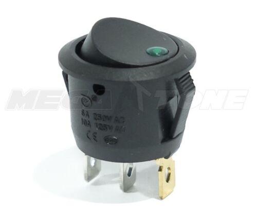 SPST 3 Pin ON/OFF Round Rocker Switch w/ Green Dot light 10A/125VAC USA SELLER!