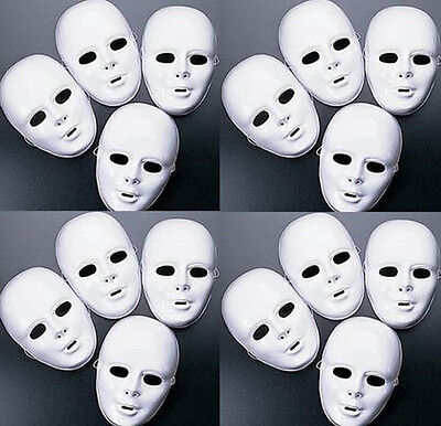 Lot of 24 + MASKS White Plastic Full Face Decorating Craft Halloween School - White Plastic Face Masks