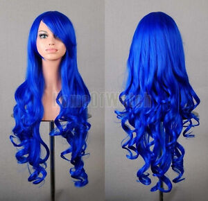 WOMEN'S Halloween Costume Blue LONG WIG with Bangs