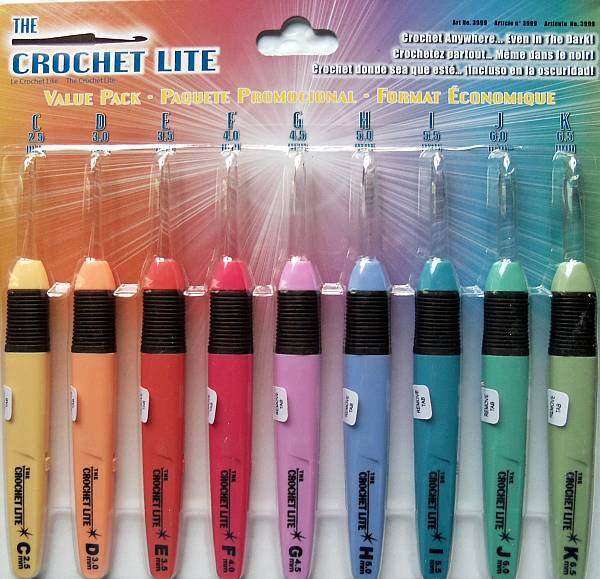 Crochet Lite Value Pack 9 Hooks C D E F G H I J K Batteries Included ...