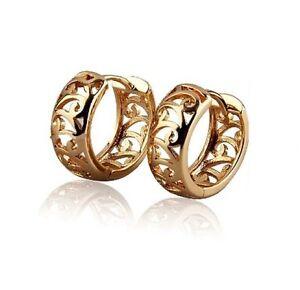 18K-Yellow-Gold-GP-Scroll-Huggie-13mm-Hoop-Ladies-Earrings-E99