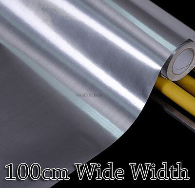Silver Metal Contact Rolls Paper Countertop Cabinet 100cm Wide Glossy Wallpaper