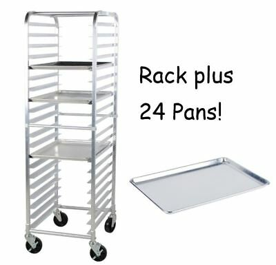 24 Pack Full Size 18 X 26 Pans 20 Pan Rack Commercial Dough Baking Bun Sheet