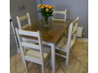 Kitchen table & 4 chairs - shabby chic