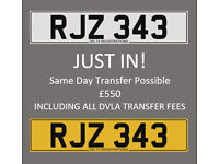 RJZ 343 – Price Includes DVLA Fees – Others Available - Cherished Personal Registration Number Plate