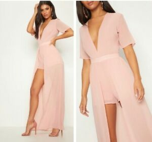 Prettylittlething Maxi Overlay Playsuit in Pink • Size 8 • New
