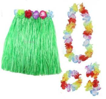 Kid's Hula Skirt & Lei 5pc Costume set Hawaiian Dancer 30cm Long
