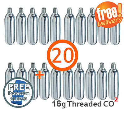 20 x 16g Threaded CO2 Cartridge Canister Capsule Bike Tyre Inflator Pump Gas