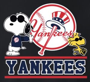 (3) NY New York Yankees Snoopy 3x2.75 Vinyl Stickers Car Window Decal