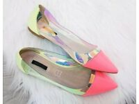 Neon Holographic Flat Shoes UK Size 6- brand new never worn