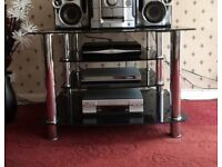 Black and chrome glass tv stand