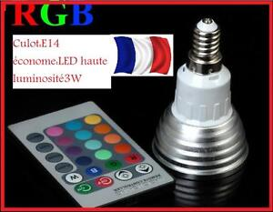 ... LED COULEURS CHANGEANTES + TELECOMMANDE E27 3W ECLAIRAGE DECORATION