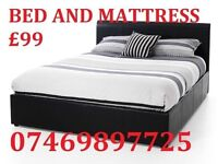 *NEW* DOUBLE LEATHER BED + FREE 9 INCH SUPREME MATTRESS £99*