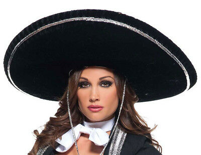Mariachi Hat Adult Black Sombrero Mexican Hispanic Costume Jumbo Big Large