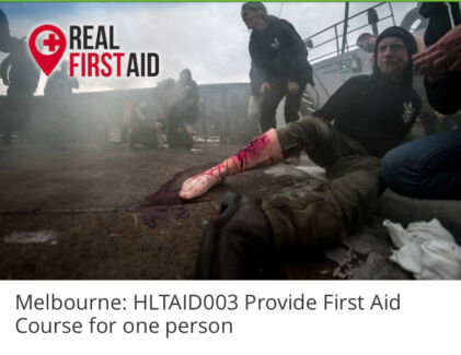 First aid course 26 March $50 only ticket was $139