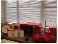 Red Microwave, Kettle plus kitchen accesories