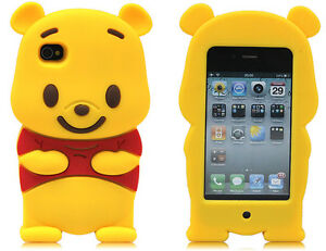 Cute 3D Winnie the Pooh Bear Silicone Case Cover For Apple iPhone 4 4G 4S
