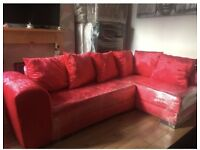 NEW Red Crushed Velvet Corner Sofa