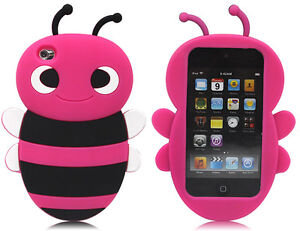 3D Cute Hotpink Bumble Bee Silicone Case Cover Skin For iPod Touch 4 4G 4TH GEN