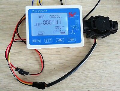 Hall Effect G34 Water Flow Countersensor With Digital Lcd Meter Gauge 10-24v