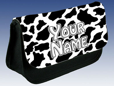 COW PRINT PERSONALISED LADIES / GIRLS MAKE UP BAG / PENCIL CASE/ DS - NAMED GIFT