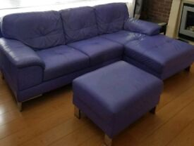 DFS Leather corner chaise + footstool