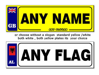 2 X PERSONALISED NUMBER PLATES STICKERS FOR  KIDS RIDE ON CAR ANY FLAG ANY NAME