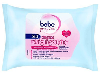 (2 Pack bebe Young Care 5 in 1 sensitive & dry skin nourishing Eye and Face Wipes)
