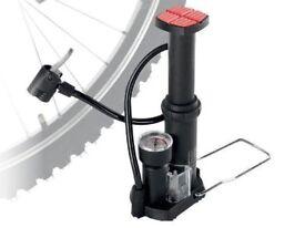 NEW FOOT PUMP (2048) CRIVIT PRESTA SCHRADER WOODS VALVE ALL PURPOSE DUAL PUMP BIKE BICYCLE FOOTBALL