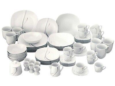 Kombiservice Silver Night 62tlg. für 6 Personen Tafel + Kaffeegeschirr + Extras