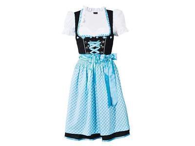 ESMARA® Damen Dirndl Trachten Marken Oktoberfest Gr. 32 34 Schwarz Blau Vichy
