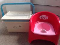 Free Blue Handle Nappy Box & Minnie Mouse Potty