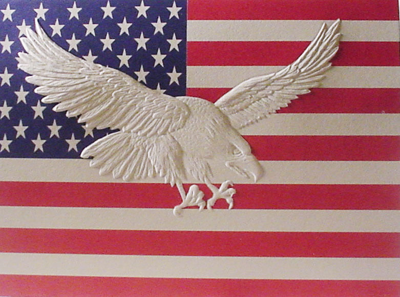 Embossed Eagle on American Flag Note Card
