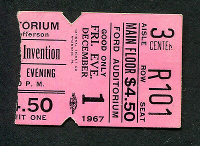 Original 1967 Mothers of Invention Frank Zappa concert ticket stub Detroit