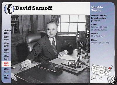 David Sarnoff Radio Corporation Of America Grolier Story Bio History Card
