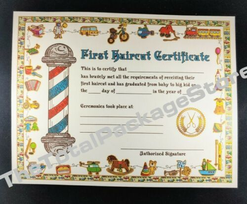 12 Pack My First Haircut Certificate Salons & Barber Shops 8.5 X 11 w/ FREE Bags