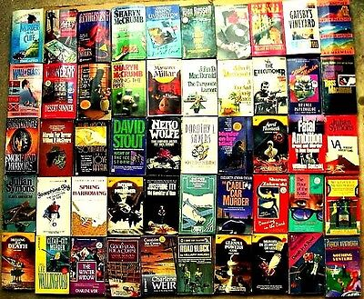 MYSTERIES / CRIME  ~ Lot of 50 Vintage Paperback Books 1980s/1990s on Rummage