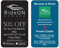 RideON Canada - Rideshare - Sign Up - Surge-Free Prices- Carpool