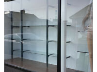 Grey Office Glass Shelving display system home retail shop salon ecig