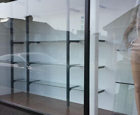 Grey Office Glass Shelving display system home retail shop salon