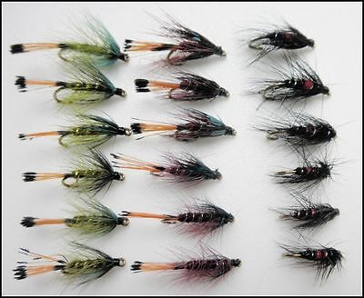 Mixed Assorted Spiders Wet Flies for Trout Fishing Tackle Fly Box Starter Kit