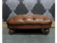Stunning Chesterfield Tetrad Oskar Large Footstool in Tan Leather - Uk Delivery