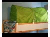 Ikea Kura Single Kids Cabin Bed with Bed Tent and Foam Mattress
